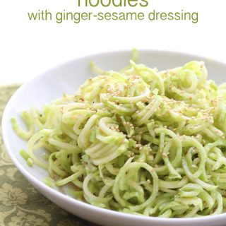 Low Carb Noodles made from broccoli stems, with a spicy ginger sesame dressing. A delicious salad or side dish.