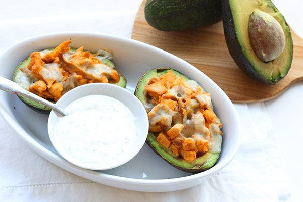 A great keto meal with buffalo chicken, bleu cheese and avocado.