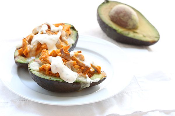 Low Carb Keto Stuffed Avocados with Buffalo Chicken and Bleu Cheese