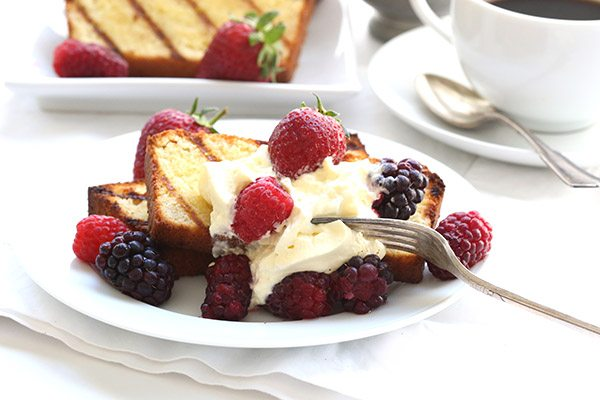 Low Carb Grain Free Pound Cake with Whipped Cream and Mixed Berries