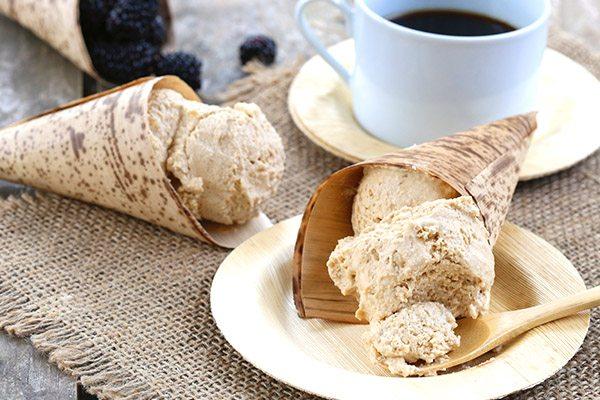 Creamy no churn coffee ice cream. Sugar-free and low carb.