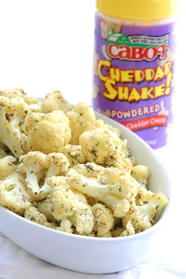 Low Carb Roasted Cauliflower with Ranch seasoning and Cabot Cheddar Cheese