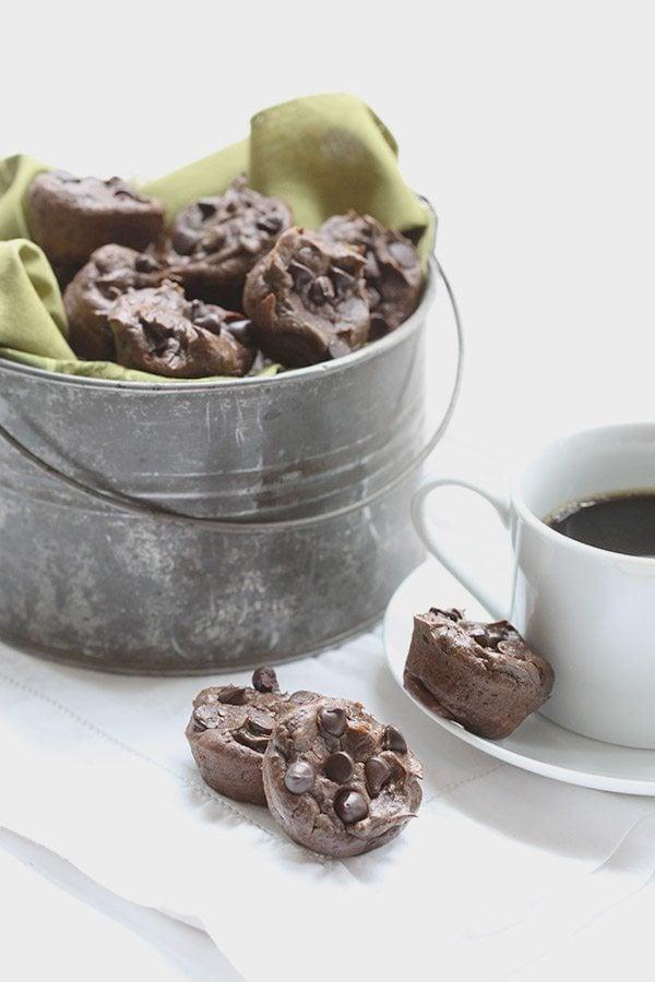 Mini Flourless Chocolate Avocado Muffins - low carb, sugar-free, nut-free