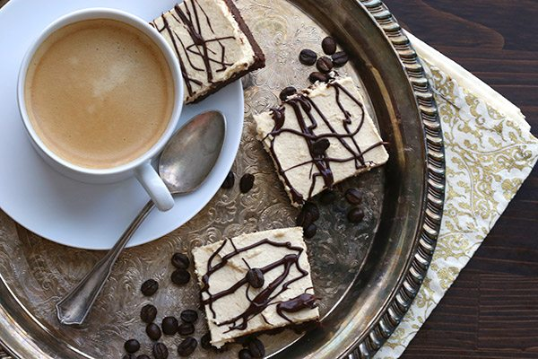 The best low carb brownies, gooey and fudge-y with a thick layer of espresso buttercream