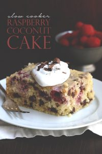 Low Carb Slow Cooker Coconut Cake with Raspberries and Dark Chocolate