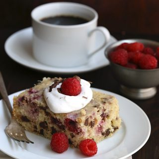 Slow Cooker cake with coconut, raspberries and chocolate chips. Low carb, dairy-free and gluten-free