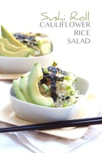 Low Carb Sushi Roll Salad with cauliflower rice. #grainfree