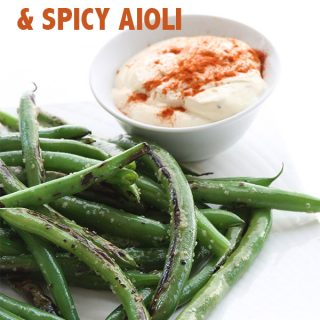 Paleo Blistered Green Beans Recipe with a spicy aioli dipping sauce