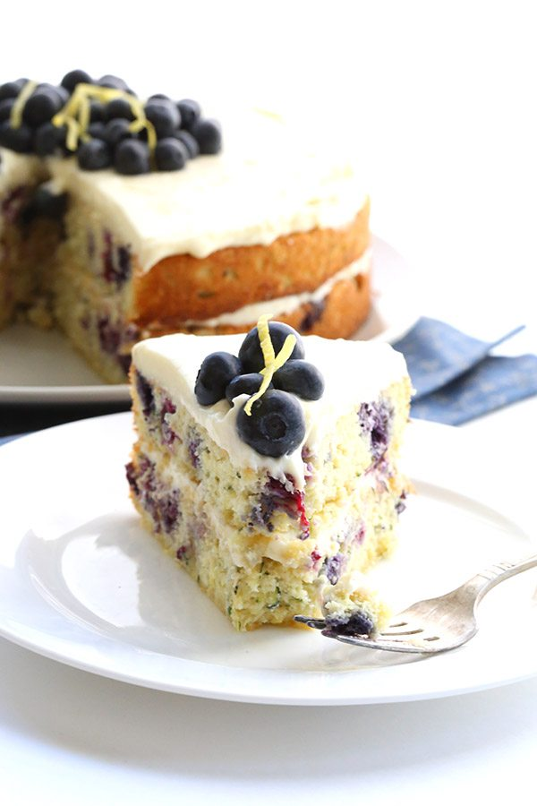 Blueberry Zucchini Cake With Lemon Icing