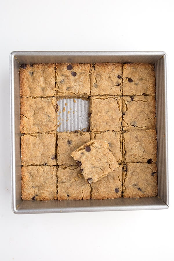 Keto blondies in a pan with one removed