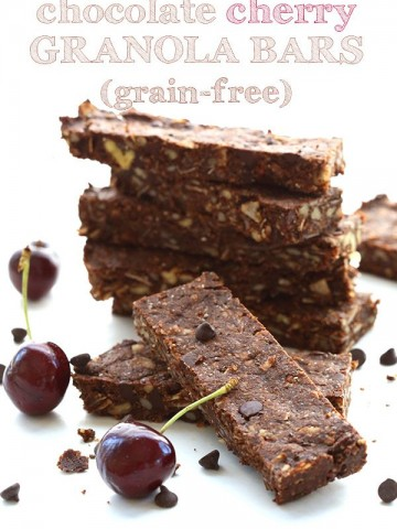 Low carb grain-free granola bars with cocoa powder, chocolate chips and cherry extract