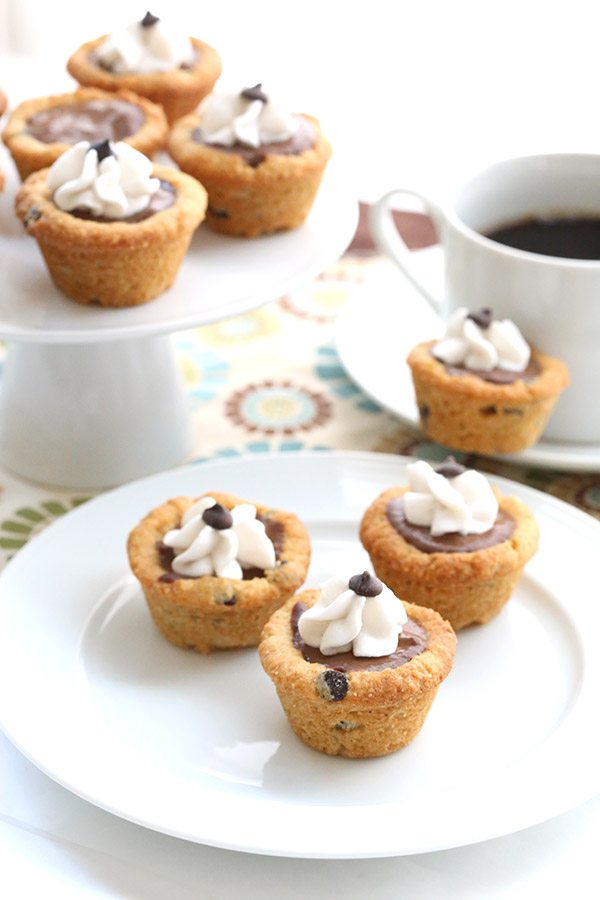 Two delicious low carb desserts in one! Chocolate chip cookies and chocolate pudding, grain-free and sugar-free.