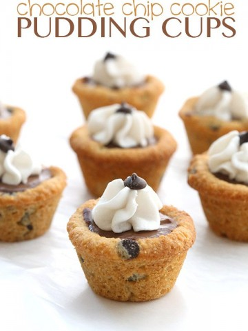 Low Carb Chocolate Chip Cookie Pudding Cups - crispy grain-free chocolate chips cookies filled with creamy sugar-free chocolate pudding