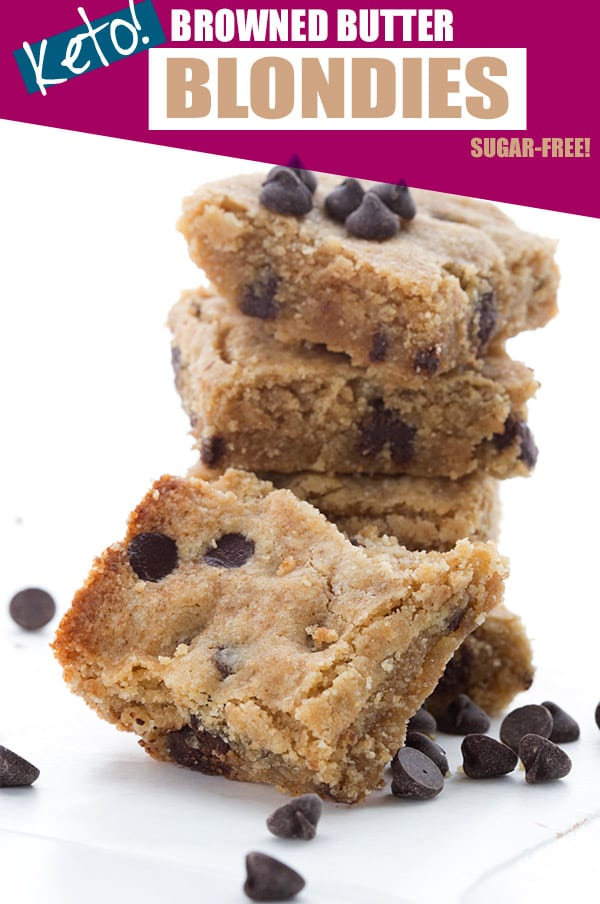 Brown butter blondies in a stack with chocolate chips