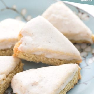 Vanilla bean scones on a blue plate