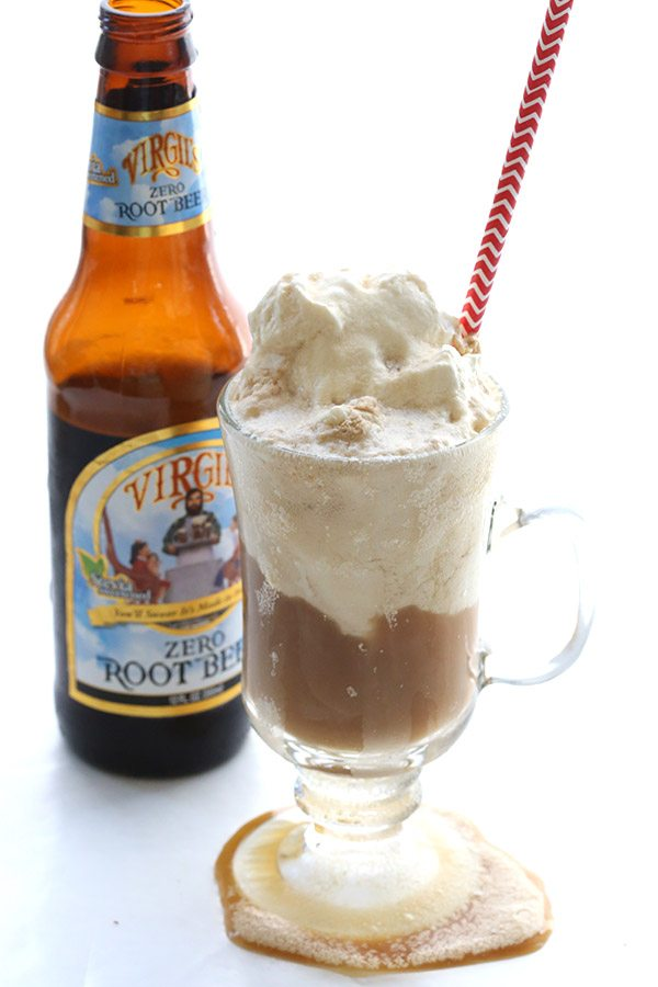 Low Carb Root Beer Floats made with Virgil's Zero Root Beer