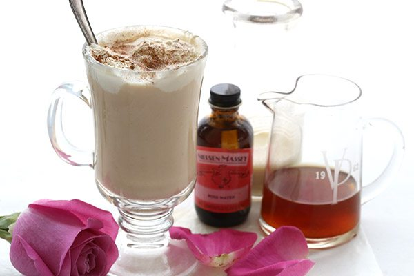 Awaken your senses with a rose water iced chai latte. Low carb and sugar-free.
