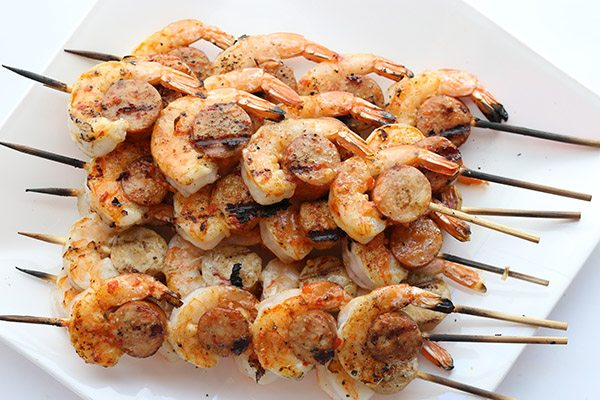 Easy primal low carb spicy shrimp and sausage skewers