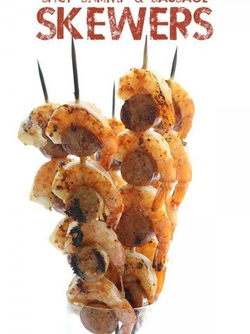 Low Carb Shrimp and Sausage Skewers - an easy keto summer meal!