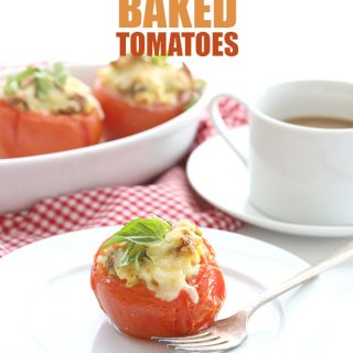 Sausage and Egg Stuffed Baked Tomatoes #lowcarb #primal