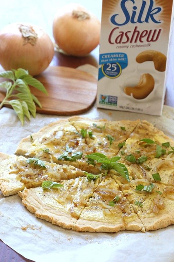 Healthy Caramelized Onion White Pizza - low carb, paleo, grain-free, dairy-free