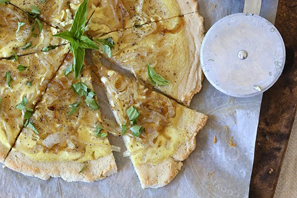 Grain-free Paleo Caramelized Onion White Pizza - a delicious low carb pizza that is also dairy-free!