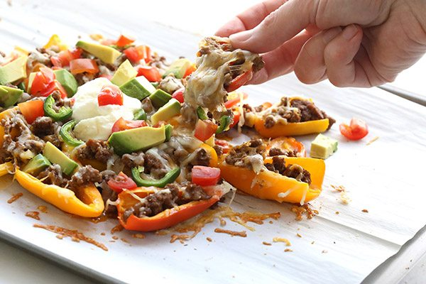 Healthy Mini Pepper Nachos Recipe. A great low carb alternative to tortilla chips!