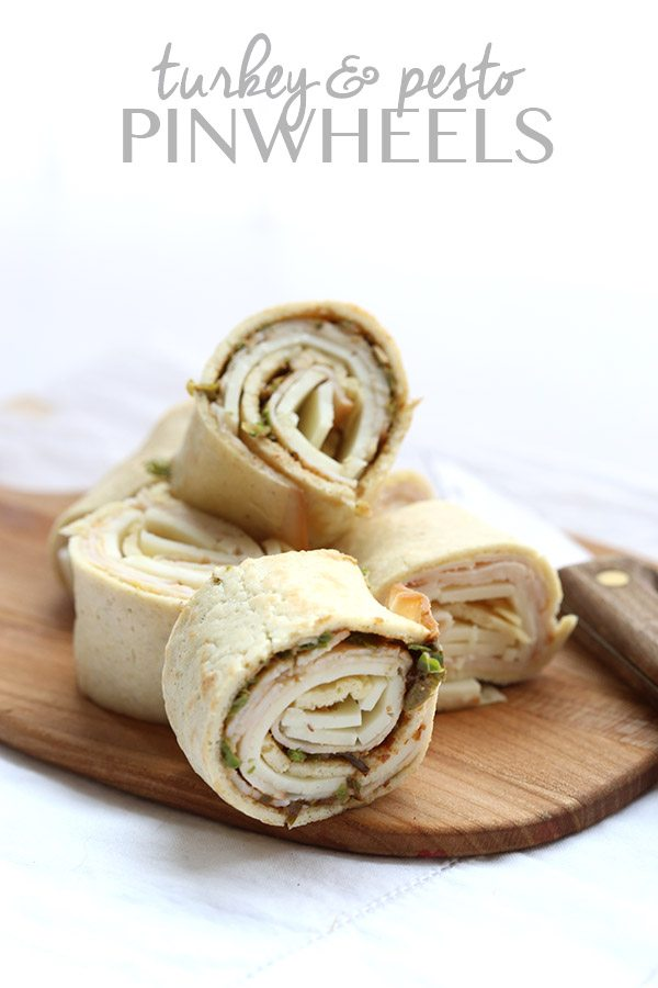 Turkey Pesto Wraps on low carb crepes, a great lunch box idea.