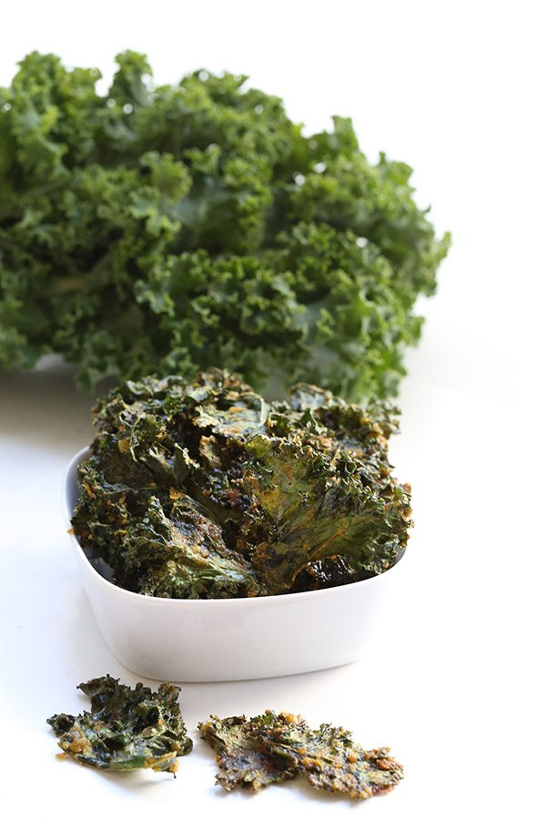 Delicious dairy-free nacho kale chips with nutritional yeast.