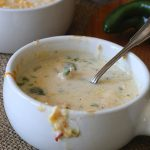 This is a must make low-carb soup, creamy, velvety, with roasted poblanos, chicken and cheese.
