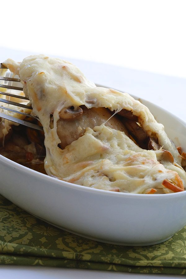 Delicilously low carb - chicken thighs with sautéed mushrooms and melted cheese.