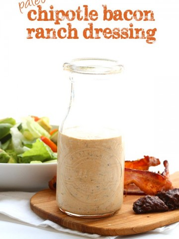Best low carb dressing recipe! All the smoky goodness of chipotle and bacon in a paleo friendly dressing. Perfect for salad, chicken or fish.