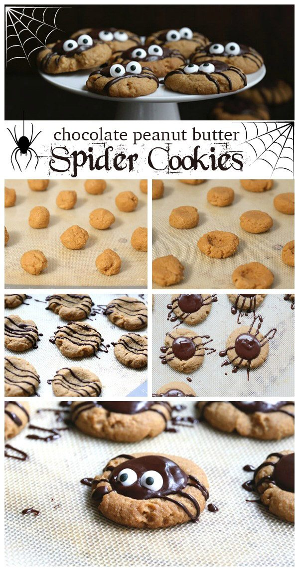 Low carb chocolate peanut butter thumbprints in the shape of spiders. A perfect sugar-free Halloween treat!