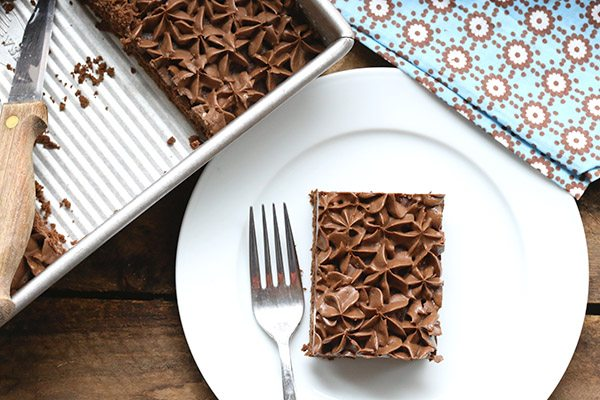 Low Carb Chocolate Snack Cake made with THM Baking Blend and THM Sweet Blend. A delicious S recipe!