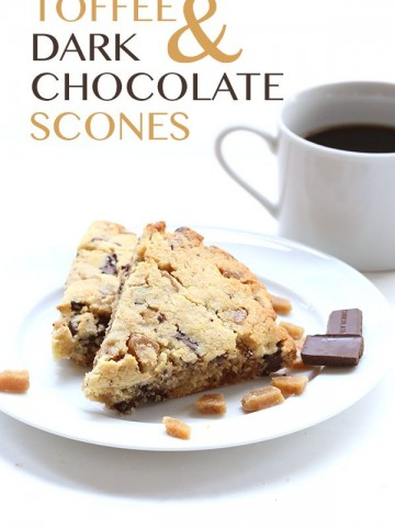 Low Carb Grain-Free Scones with Toffee bits and Dark Chocolate.