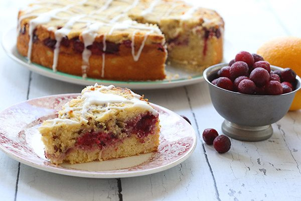 A tender almond flour coffee cake bursting with cranberries and orange zest. Low Carb and Gluten-Free