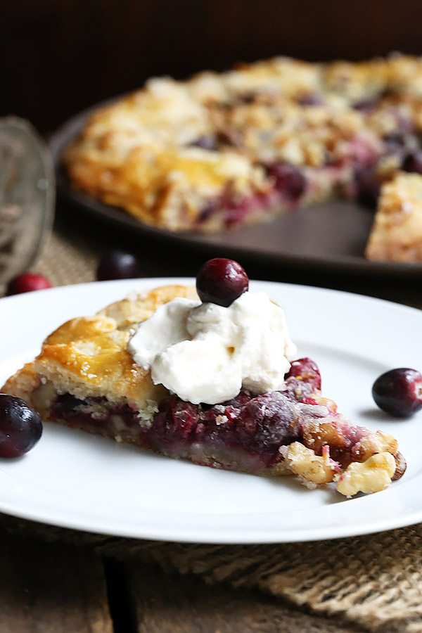 Top this gorgeous low carb cranberry walnut galette with some lightly sweetened whipped cream for the perfect holiday dessert.