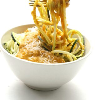 Low carb creamy pumpkin sauce with zucchini noodles. A healthy primal and low carb recipe.