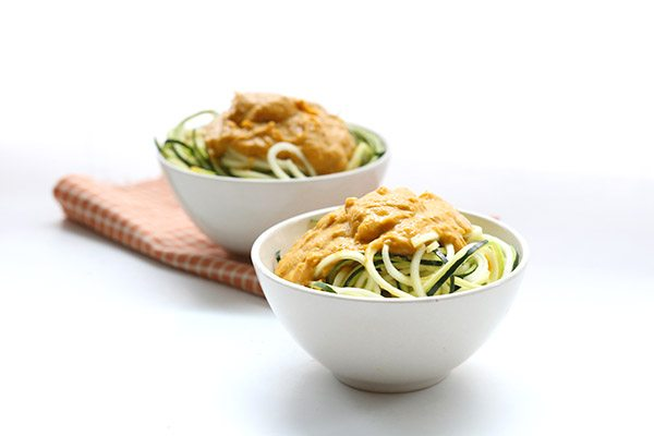 A delicious low carb pumpkin pasta sauce over zoodles. A delicious Thanksgiving side dish.