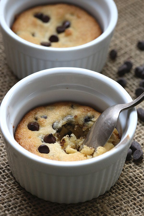 Low carb grain-free single serving of chocolate chip cookie in a mug.