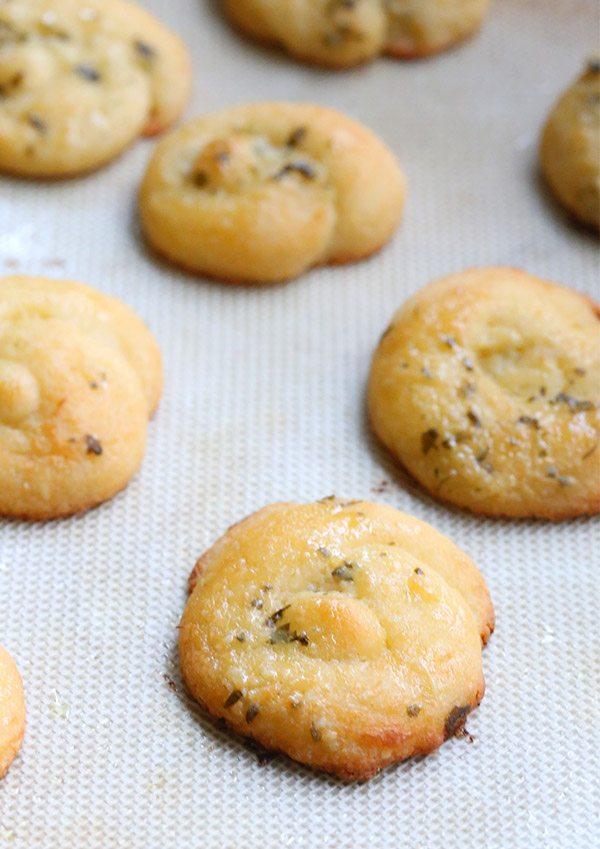 Low Carb Garlic Parmesan Knots on a baking pan