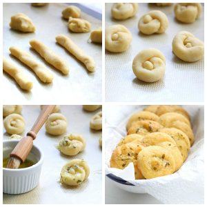Use the keto mozzarella dough to make delicious garlic parmesan knots.