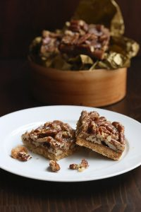 Low Carb Pecan Toffee Bars with a shortbread crust