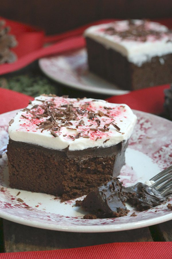 Low Carb Grain-free Chocolate Peppermint Poke Cake Recipe