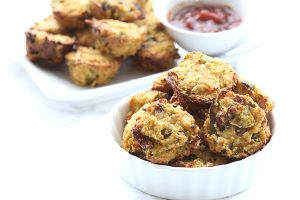 Low Carb Cauliflower Tots with green chilies and bacon