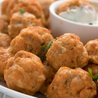 Close up shot of keto buffalo chicken sausage balls.