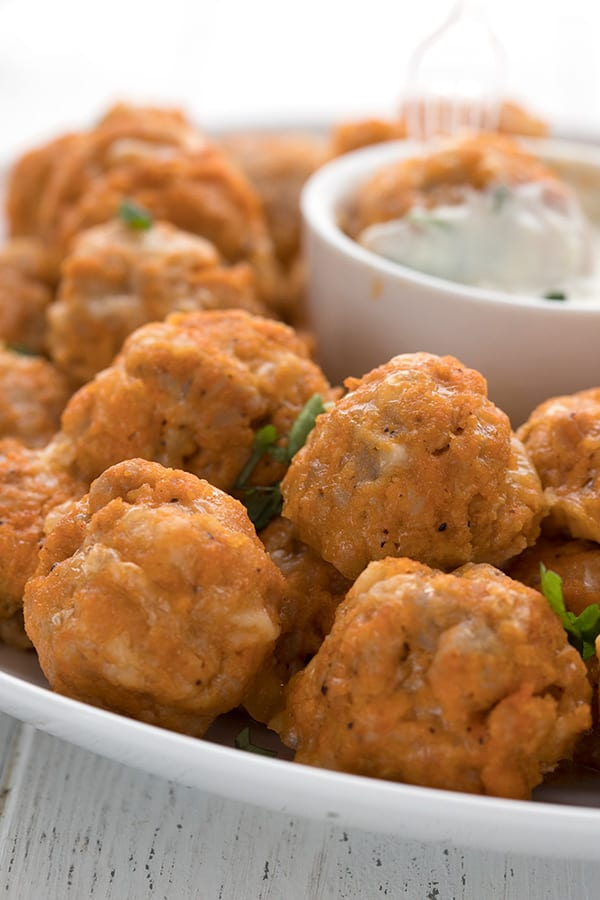 Close up shot of keto buffalo chicken sausage balls.