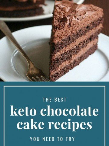 Keto chocolate layer cake on a white plate. Titled image