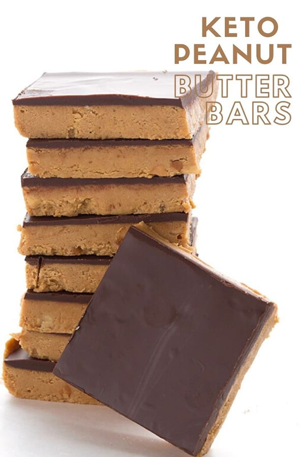 A stack of keto peanut butter bars on a white background, with the title in the lefthand top corner