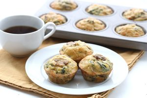 Easy low carb egg muffins with spinach and mushrooms. These make the best freezable, make-ahead breakfasts!